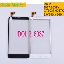 10Pcs/lot For Alcatel One Touch Idol 2 6037 6037Y 6037K OT6037 Screen Panel Sensor Digitizer Front Glass Touchscreen