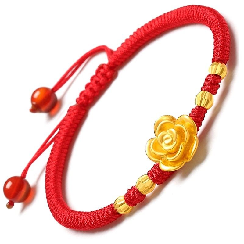 Authentic 24K Yellow Gold Smart Rose Bead Red Braided Bracelet - Best GiftAuthentic 24K Yellow Gold Smart Rose Bead Red Braided Bracelet - Best Gift