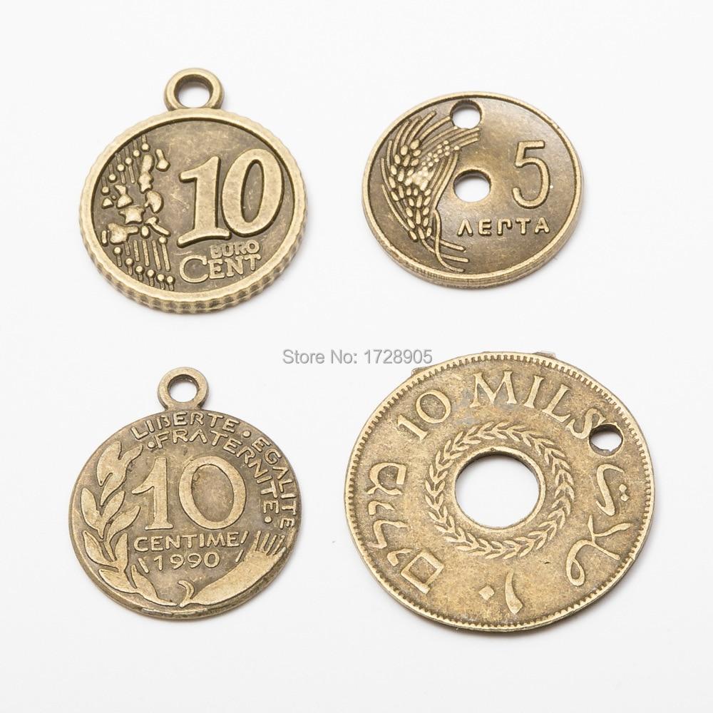10pcs Vintage Silver Alloy Retro Style Roman Coin Pendant Charms DIY Accessories
