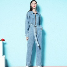 Nordic style 2018 autumn new denim jumpsuit women's fashion casual slim pull easy jumpsuit long sleeve jumpsuit woman nw18c2901