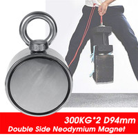 600KG D94mm Double Side Neodymium Magnet Fishing Metal Hunting Sea Treasure Search Neodymium Recovery Powerful Magnetic