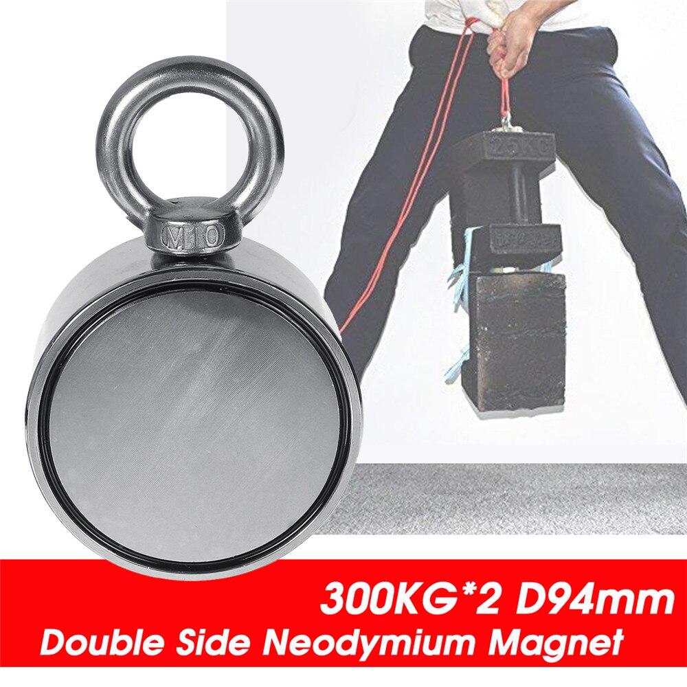 600KG D94mm Double face néodyme aimant pêche métal chasse mer trésor recherche néodyme récupération puissant magnétique