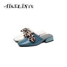 AIKELINYU Women Genuine Leather Slippers Bow Flats Mules Shoes Women Low Heels Summer Mules Slides Female Pointed Toe Sweet Girl цена 2017