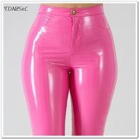 2019 New Sexy Women PU Leather Skinny Pants High Waist Solid Color Package Hip Pencil Trousers PVC Bodycon Slim Nightclub Party