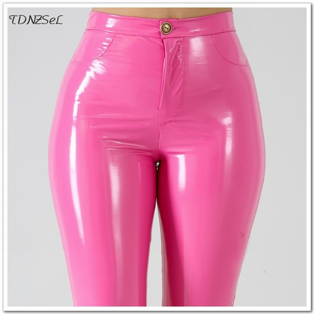 Plus Big Size Sexy Women PU Patent Leather Skinny Pants High Waist Solid Color Package Hip PVC Latex Pencil Trousers Slim Casual