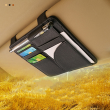 PU Automotive Car Sun Visor Organizer Storage Glass Storage Clip Card Holder Bag Multifunctional Car Visor Holder Auto Styling