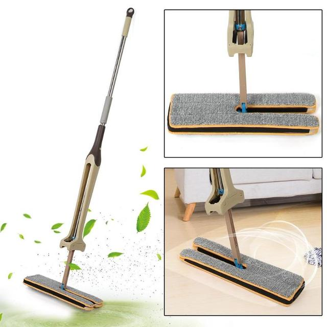 Self-Wringing Double Sided Flat Mop Microfiber Mop Telescopic Comfortable Handle Mop Floor Cleaning Tool For Living Room Kitchen