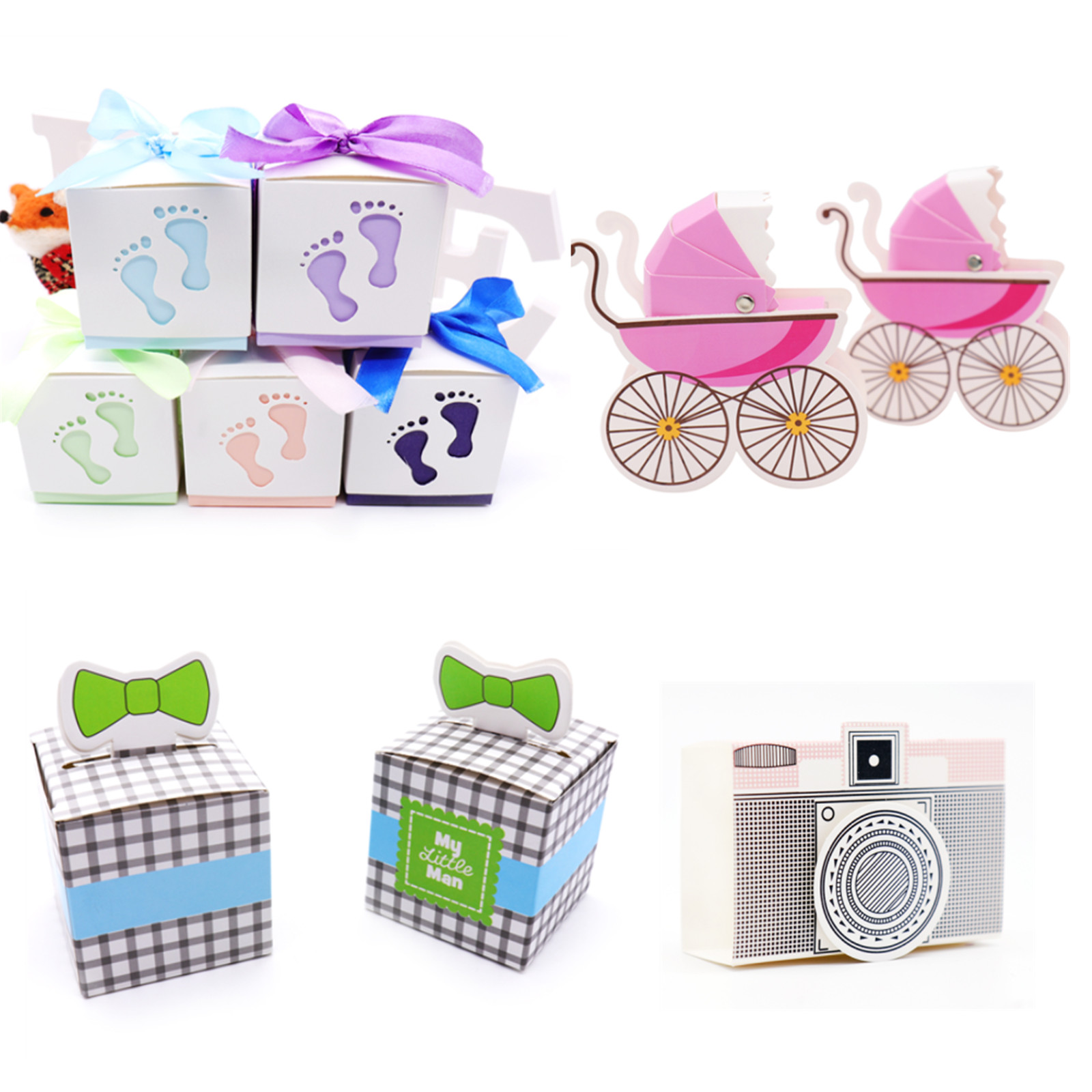 10pcs Baby Shower Decoration Baby Footprint Candy Box Kids Birthday Boy Girl Party Favor Pink/Blue Laser Cut Stroller Gift Box