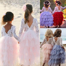 2019 HOT Kids Baby Girls Sweet Dress Long Sleeve Lace Open Back Dress Party Bridesmaid Princess Multi-layer Pageant Dresses t(China)
