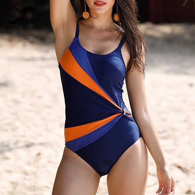 Patchwork Sexy Bodysuits ONE-Pieces Push Up Swimsuit Retro Bikini Wanita Baju 2019 Mujer Bak Mandi Monokini Baru
