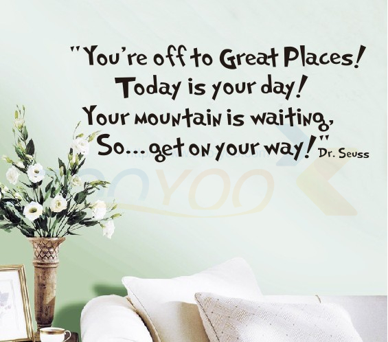 Youu0027re off to Great Places home decor quote wall decal ZooYoo8073 decorative adesivo de parede removable vinyl wall sticker-in Wall Stickers from Home ...  sc 1 st  AliExpress.com & Youu0027re off to Great Places home decor quote wall decal ZooYoo8073 ...