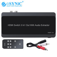 Esynic 4K 3x1 HDMI Switch with Audio Extractor Converter Optical Toslink SPDIF RCA L/R Audio Output Support 4K 3D 1080P PIP