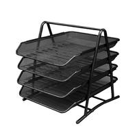 Office Supplies Multi Layer Finishing Metal Iron Net File Tray A4 File Rack Four Layer Pumping Data Shelf Table Storage Products