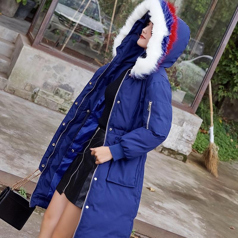 Parka Paedded Pour À Survêtement Bleu P677 Chaud Capuchon Long couleur De Fourrure Femme Manteau Épais D'hiver Tri Femmes Mode Hiver Col Blue Veste xxHqwp
