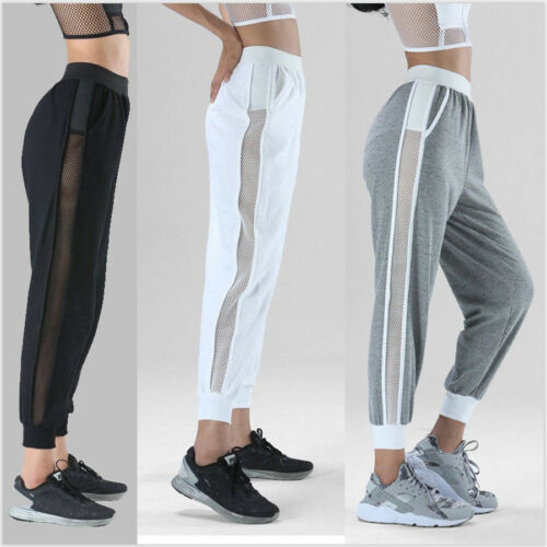 Women Fashion Casual Loose Gym Pant Hollow Out Elastic High Waist Solid Trouser Sport Pant