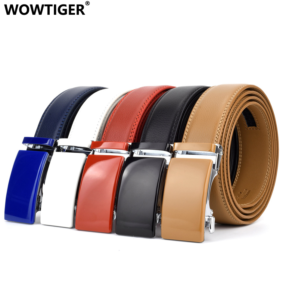 WOWTIGER black white red blue 35mm Cowhide Genuine Leather   Belt   For Men High Quality Male Brand Ratchet Automatic Luxury   belts