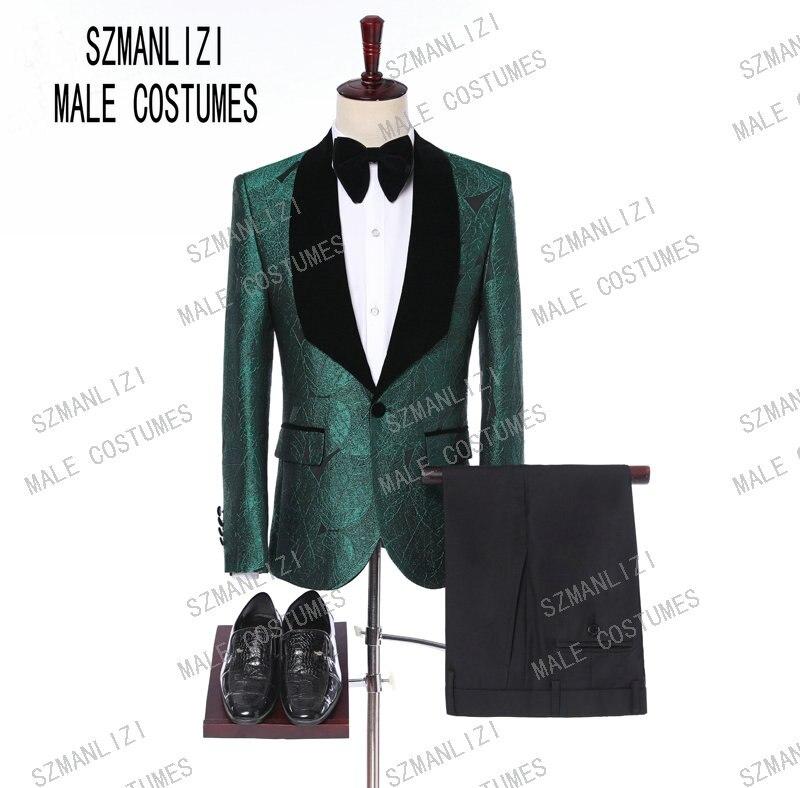 Men Suits With Pants 2019 Italian Tuxedo Slim Velvet Lapel Green Leaves Formal Groom Wedding/Prom/Party Suits Best Man Blazer