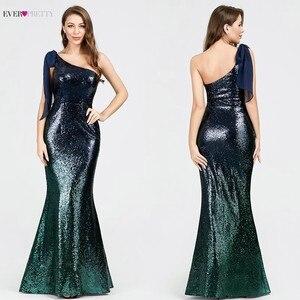 Image 2 - Paillettes robes de soirée longue jamais jolie EP07336 sirène une épaule sans manches Sexy moulante Abiye robes élégantes robes de soirée