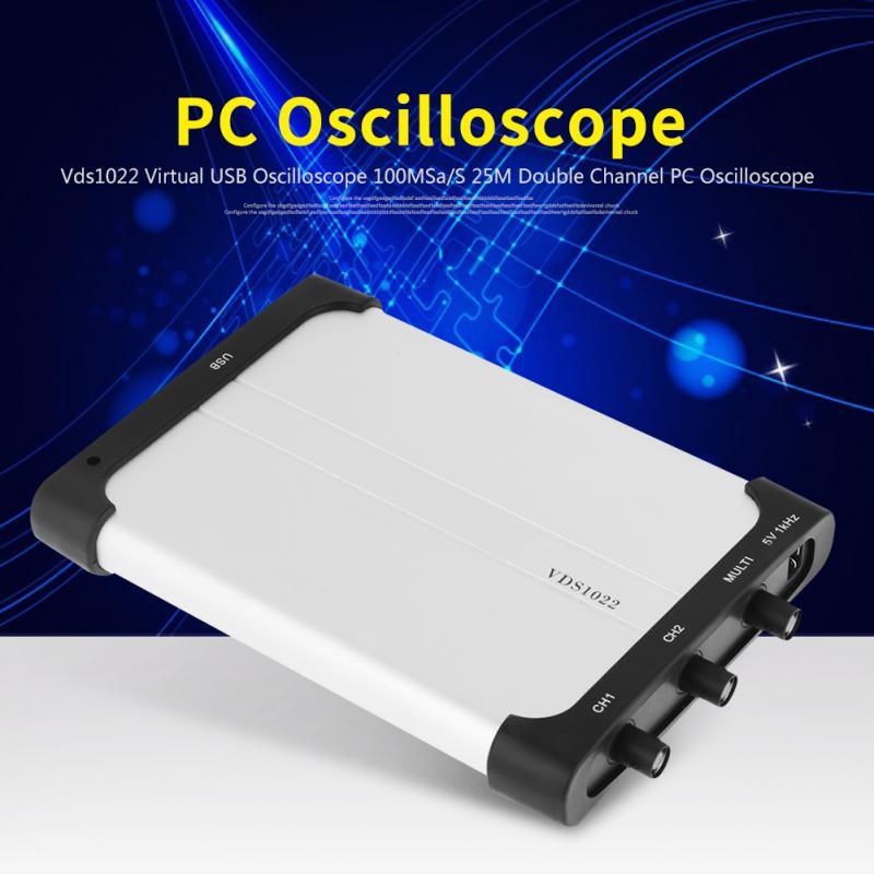 Chaude 1 Pcs VDS1022 Virtuel USB Oscilloscope 100MSa/S 25 M Double Canal PC Oscilloscope