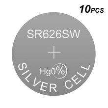 ปุ่มอัลคาไลน์เงินโทรศัพท์มือถือแบตเตอรี่นาฬิกา LR626 1.5V 0Hg LR เหรียญ SR626SW แทนที่ AG4 177 377A D377 377 377S GP377 D376 376 LR66