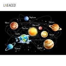 Laeacco Cartoon Spaceship Universe System Backdrop Photography Backgrounds Customized Photographic Backdrops For Photo Studio