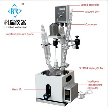 5L Glass Process Reactors works by Single-lined  Glass Reactor for heating distillation in laboratory and Industrial