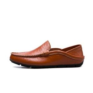 حذاء رجالي الخف متعطل رجل حقيقية أحذية من الجلد تنيس Masculino Adulto الكلاسيكية اليدوية الانزلاق على القيادة حذاء كاجوال 39-47