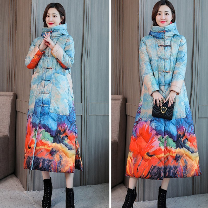 Long Section Fashion Color Printing White Duck Down Jacket Thick Section Winter Jacket Coat Women Loose Casual Feather Parka 189