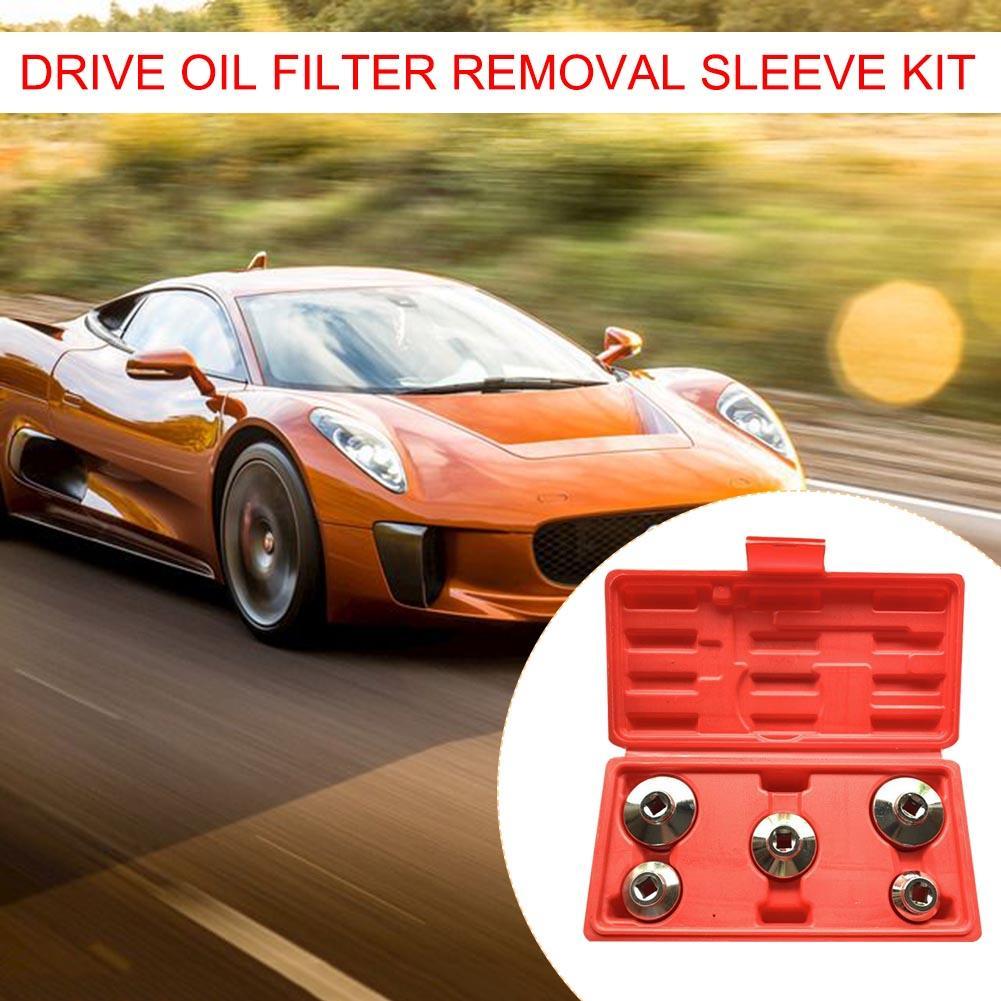 5pcs 3/8 Inch Drive Oil Filter Remover Socket Set Universal Wrench Tool Kit Auto Car Repair Tool Box Set Dropshipping