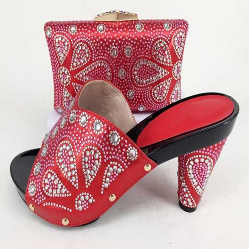 GL-368 RED Wedding Italian Shoes with Matching Bag African Shoe and Bag Set Italian Design African Shoes and Bag Set cd158 1 free shipping hot sale fashion design shoes and matching bag with glitter item in black