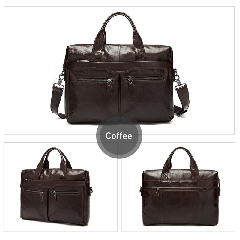 New Bag Men Leather Briefcases Men's Bags Genuine Leather Shoulder Crossbody Bags Laptop Bag Business Man Briefcase Tote Handbag