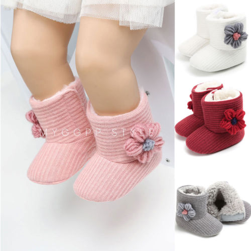 90ee1b516f3fb 2019 New Infant Toddler Baby Girls Boots Kids Floral Winter Warm Thick Snow  Boots Fur Shoes Newborn Baby Girl Cotton Shoes