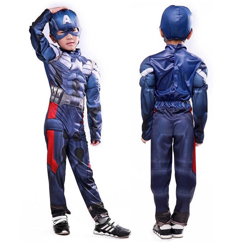 Kids SuperheroCaptain America  Muscle Costume Avengers Child Cosplay Super Hero Halloween Costumes