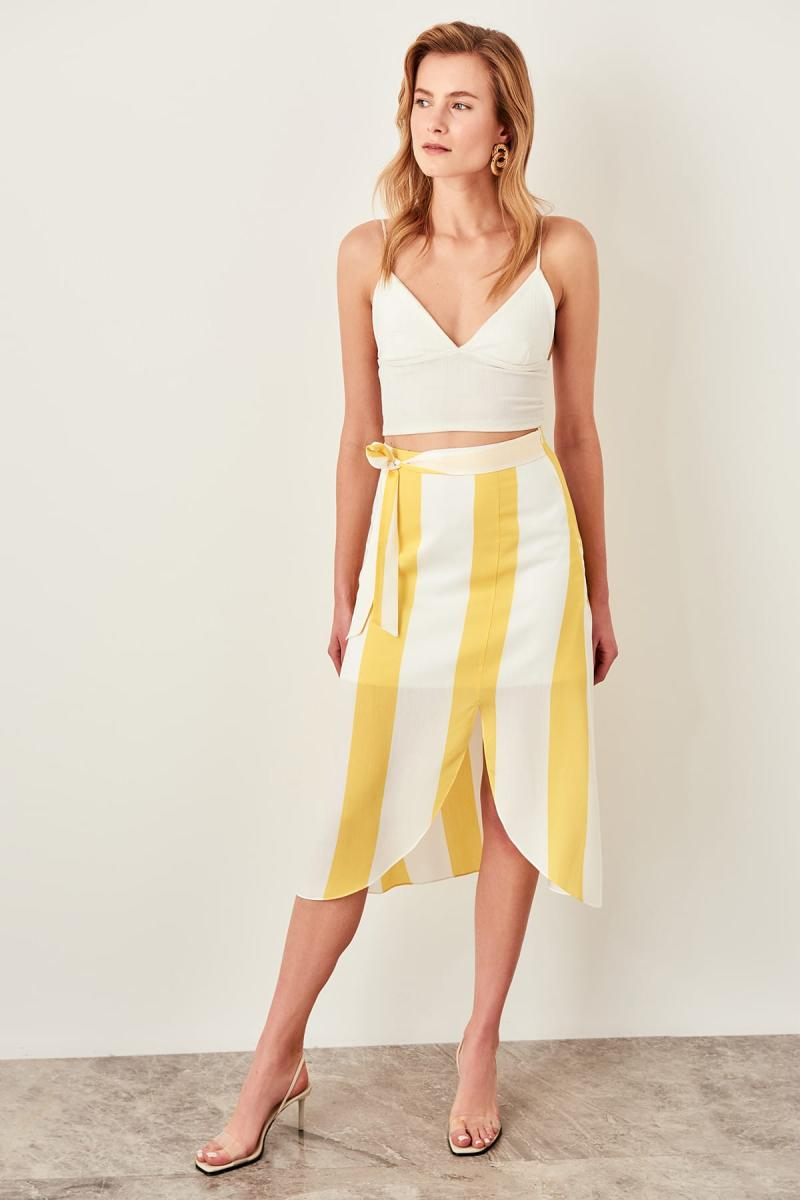 Trendyol Yellow Striped Skirt TWOSS19LJ0176