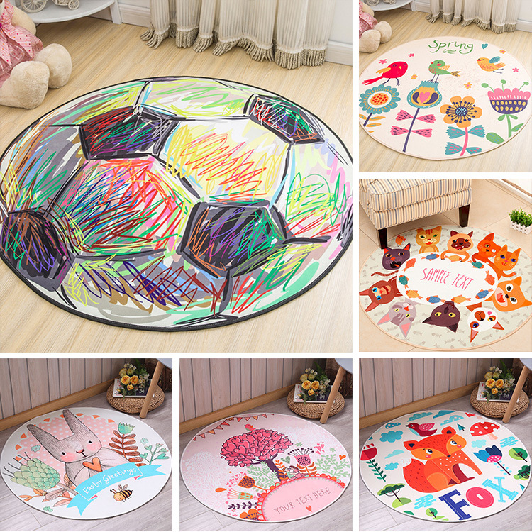 Cartoon Magic Circle Rabbit Printed Puzzle Mats Children Round Carpet Diameter 60-160cm Baby Play Mat Area Rug Anti-slip