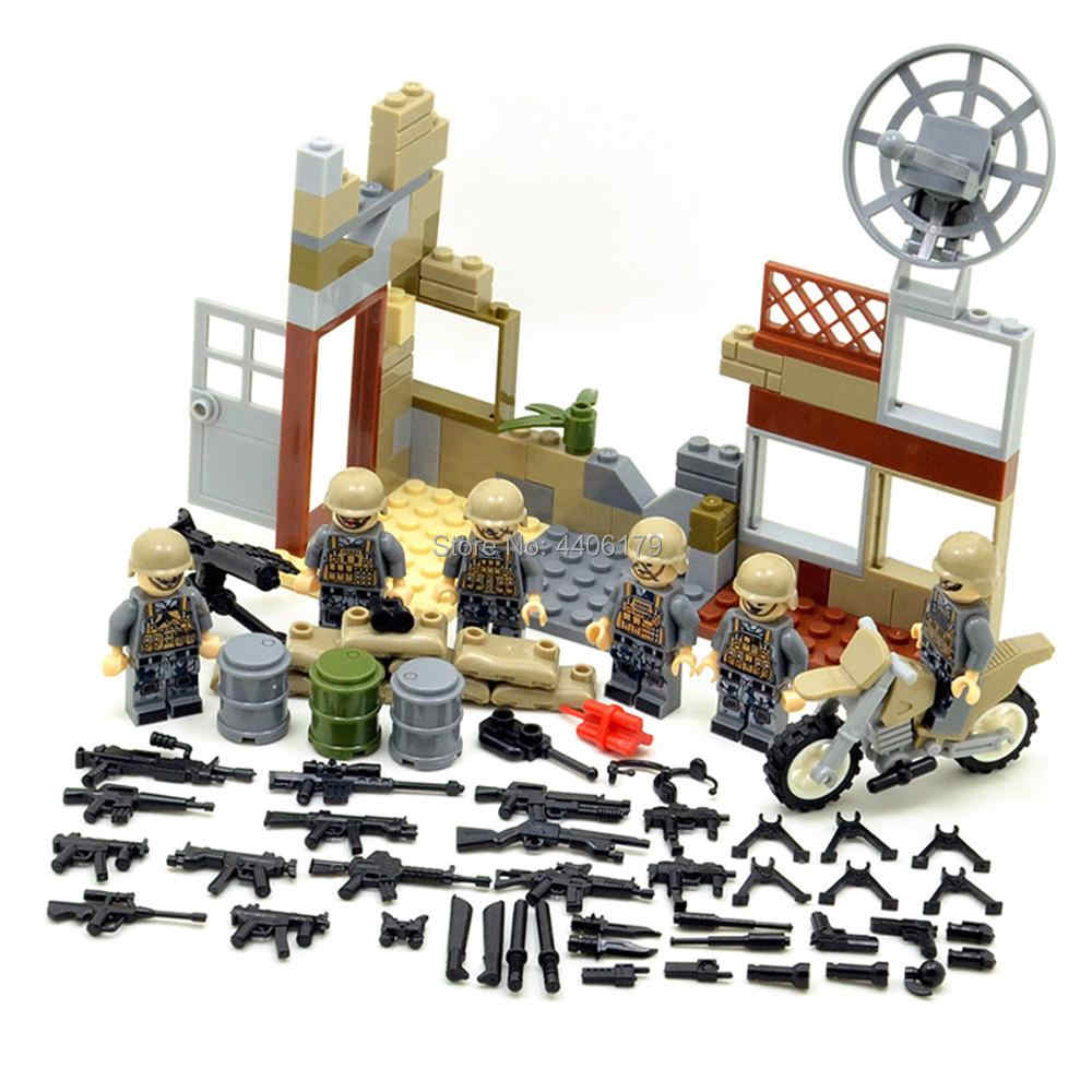 hot LegoINGlys military WW2 Red Sea Special forces Landing battle Building Blocks mini army figures weapons gun bricks toys gift