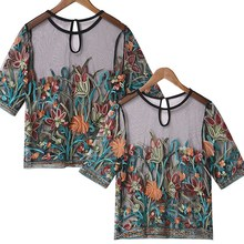 Women Summer Sexy Floral Embroidery Tops Semi Sheer Mesh Transparent Shirt See Through Thin Tunic Vintage Blouse plus embroidery ruffle hem semi sheer blouse