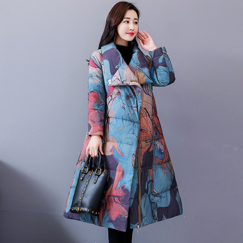 Plus Size 2019 Winter Jacket Women Vintage   Parka   Print Chinese National Style Female Elegant Long Cotton Padded Clothes J432