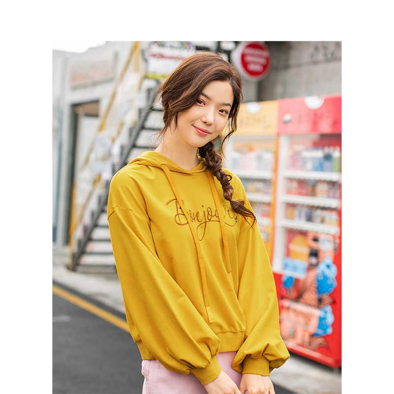 Inman Musim Gugur Berkerudung Santai Korea Fashion Gaya Siswa Semua Cocok Longgar Slim Lengan Panjang Wanita Kaus