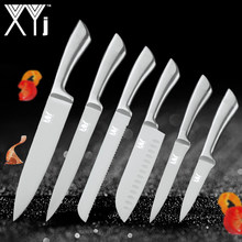 XYj Kitchen Stainless Steel Knives Accessories Paring Utility Santoku Chef Slicing Bread Stainless Steel Knives New Arrival 2019(China)