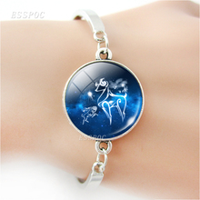 Zodiac Sign Bracelets Charm Glass Cabochon Steel Bracelet Bangle Virgo Libra Scorpio 12 Constellation Jewelry Birthday Gift