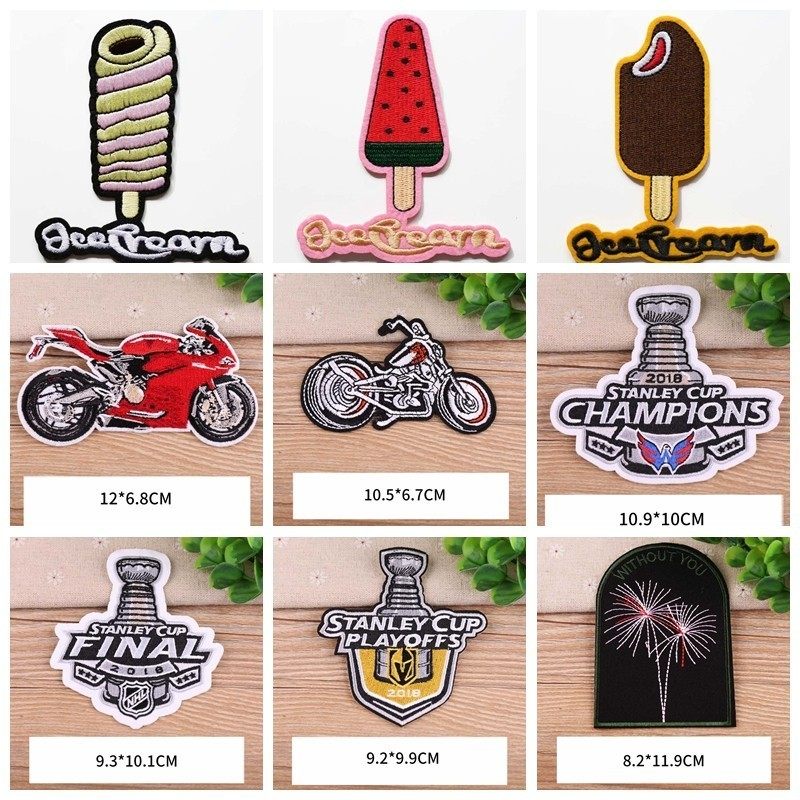 Popsicle Patches for Clothing Iron on Embroidered Sew Applique Punk Motorcycle UFO Patch Badge Garment DIY Apparel Accessories