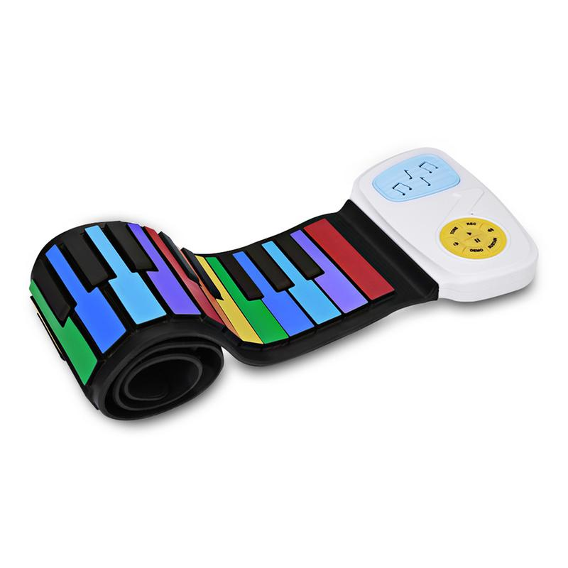 49 touches coloré Piano électrique USB MIDI clavier Silicone Flexible retrousser orgue électronique Piano Instrument cadeau pour enfants