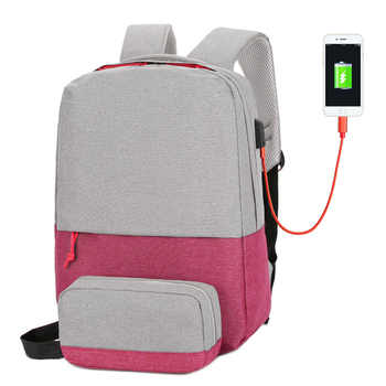 "External USB Charge Backpack Travel School Bag For Teenagers Casual 15.6"" Laptop Fashion Bag Rechargeable Holder For Bottle"