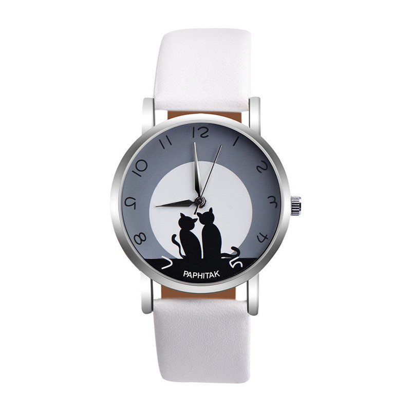Women's watches casual watches Leather Cute Cat Pattern Leather Watch women Ladies quartz wristwatches montre femme #D 5