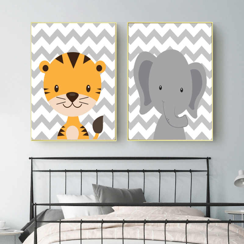 Cartoon Cute Jungle Animal Wall Art Canvas Painting Nursery Decoration Print and Posters Baby Boys Bedroom Decor Wall Picture