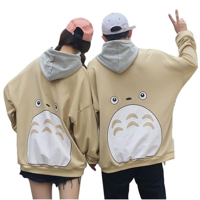 Autumn Couple Men Women Cartoon Totoro Printed Hoodies Japanese Harajuku Unisex Pullover Sweatshirt Young Boys Girls Streetwear
