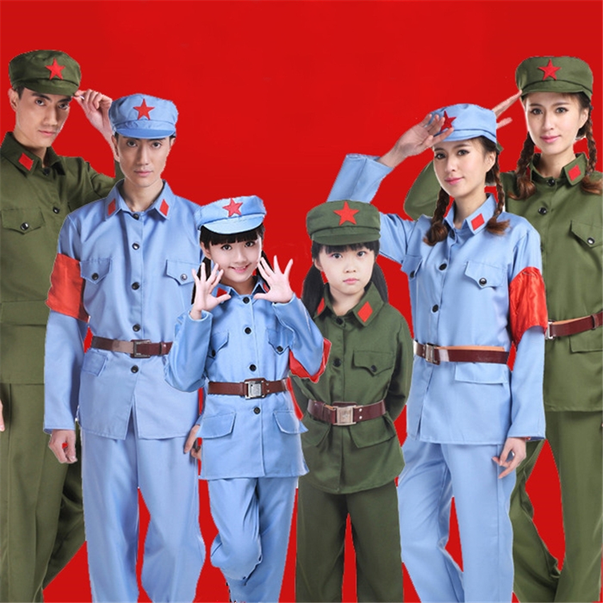 Kids Army Military Uniform for Boys Girls Scouting Soldier Red Army Patriotic War WW2 Tactical Clothing Pant Hat Belt Set