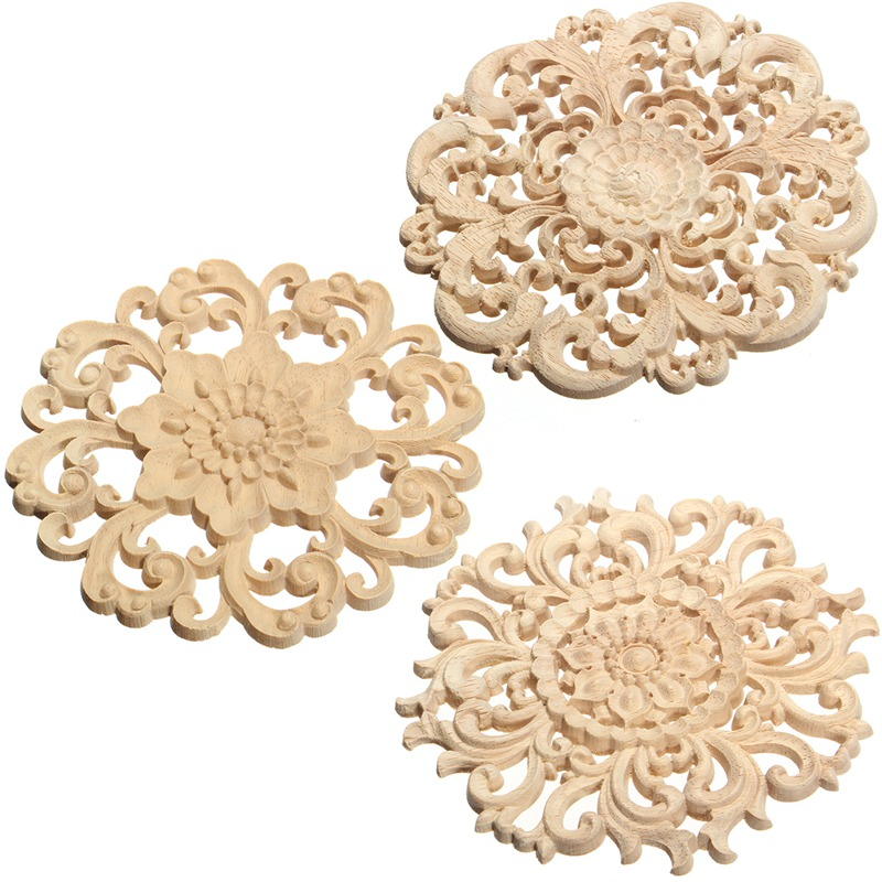 Best Price 15cm Floral Wood Carved Corner Woodcarving Decal Onlay Applique Decorative Crafts for Home Furniture Cabinets Decor placemat