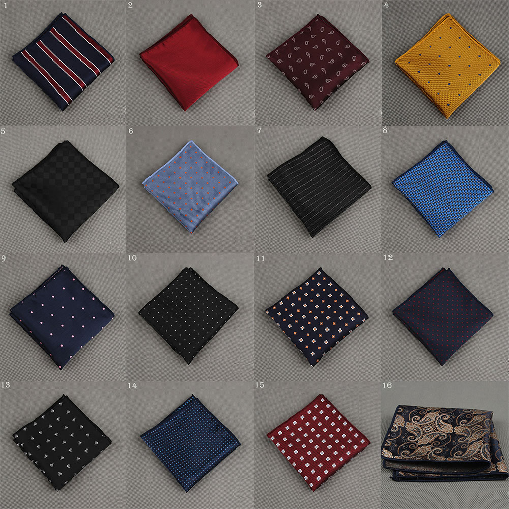 Men Handkerchief Polka Dot Striped Polyester Business Pocket Square Chest Towel